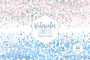 Pastel Rainbow Watercolor Confetti