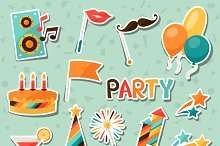 Party stickers.