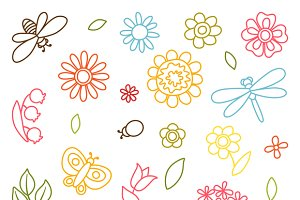 Set of flowers, beetles, butterflies