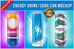 Energy Drink / Soda Can Mockup