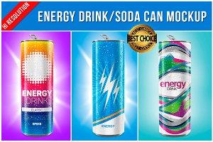 Energy Drink / Soda Can Mockup