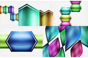 Set of glossy geometric shapes abstract backgrounds