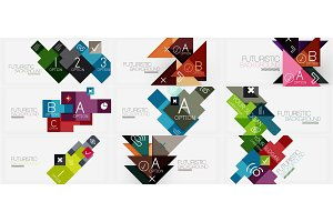 Collection of geometric composition banner templates