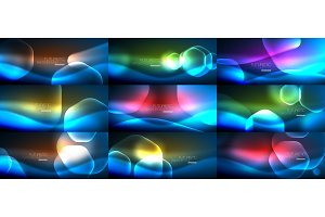 Set of abstract backgrounds - geometric neon glowing glass hexagons designs
