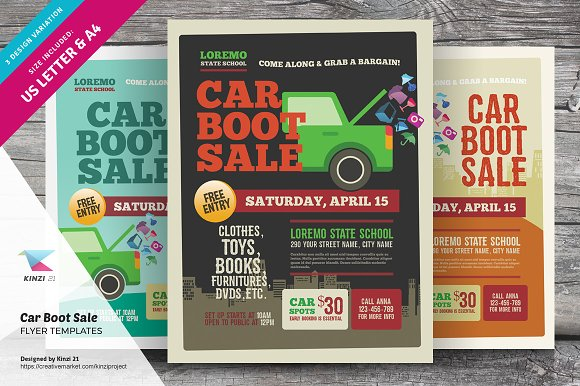 car boot sale flyer templates flyers