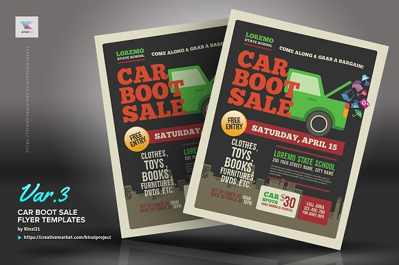 car boot sale flyer templates flyer templates creative market