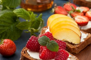 toast with berries and fruits