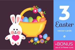 Easter cards + flower icons set