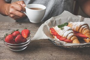 croissant with strawberries