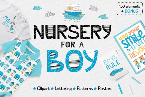 Nursery For A Boy- Clipart Lettering