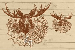 Moose illustration with wreath