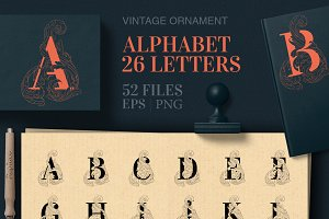 Vintage Ornament Alphabet Monogram