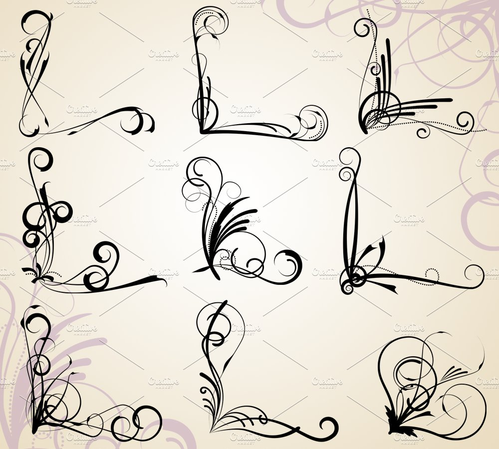 Corner Flourishes Vectors Illustrations Creative Market