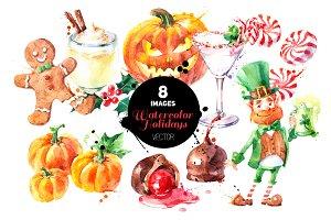 Watercolor Holidays Vector Set
