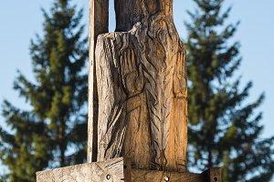 Park with wooden sculptures near Aglona, Latvia. Catholic church.