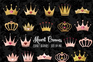 Heart Crowns Clipart