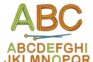Warm Knitting Alphabet Icon Set