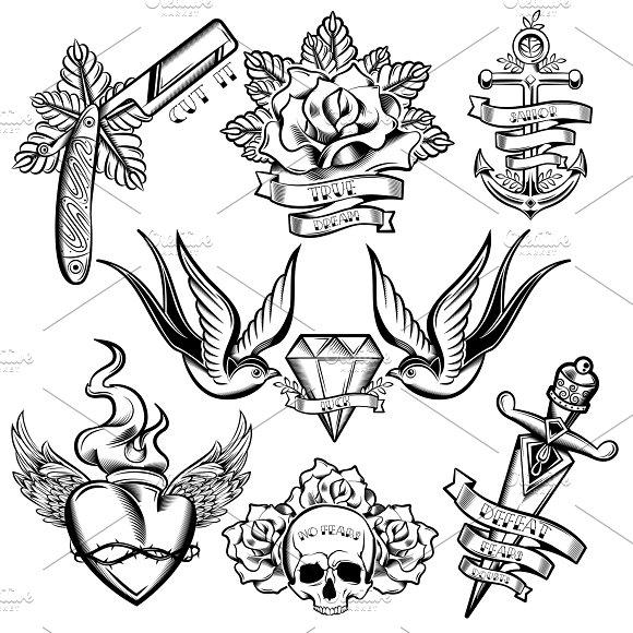 Tattoo Monochrome Elements Set