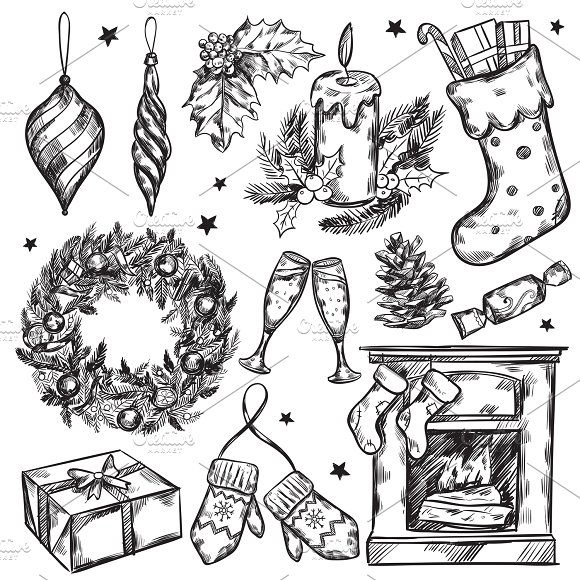 Sketch Christmas Gifts Icon Set