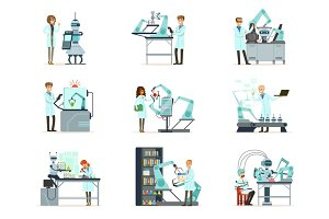 New technologies, artificial intelligence set, scientists working in the laboratory with robotic machines vector Illustrations