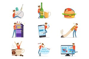 Bad habits set, alcoholism, drug addiction, smoking, gambling addiction, smartphone, shopping, coffeemania, gluttony with obesity vector Illustrations