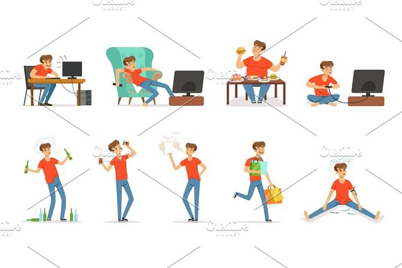 Bad habits set, alcoholism, drug addiction, smoking, dependence of computer and video games, shopping, gluttony with obesity vector Illustrations