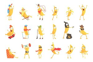 Cute happy humanized bananas in different actions set of vector Illustrations