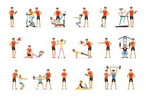 Personal gym coach trainer or instructor set of vector Illustrations