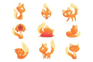 Cute cartoon red kitten character in different actions set of vector Illustrations