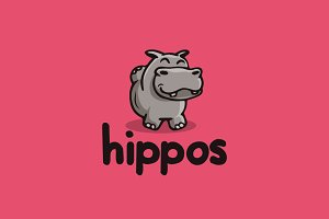 Hippo Cartoon Logo