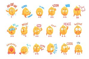 Cute cartoon chickens characters with different emotions and phrases set of vector Illustrations