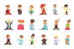 Cute little kids wearing elegant adult oversized clothes set, children pretending to be adults vector Illustrations