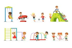 Cute cartoon little kids playing and having fun at the playground set of vector Illustrations