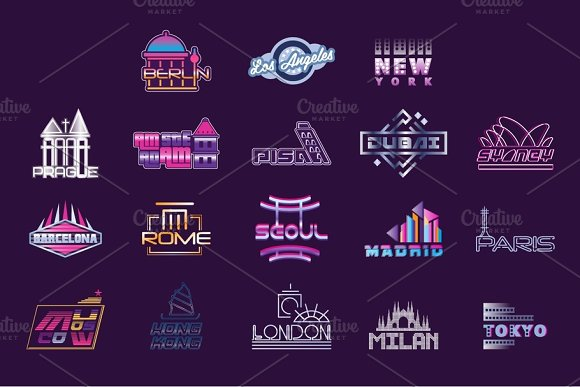 World Cities Labels Set Logo Graphic Templates Vector Illustrations