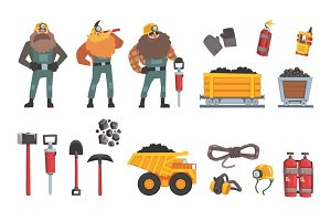 Coal mining industry set, working miners, transport, miner equipment and tools vector Illustration
