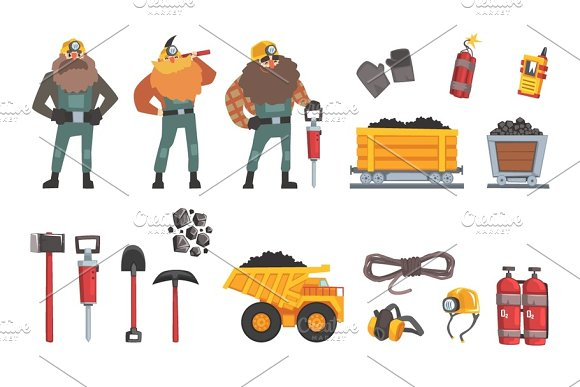 Coal Mining Industry Set Working Miners Transport Miner Equipment And Tools Vector Illustration