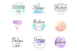Fashion luxury boutique set for logo design, colorful vector Illustrations