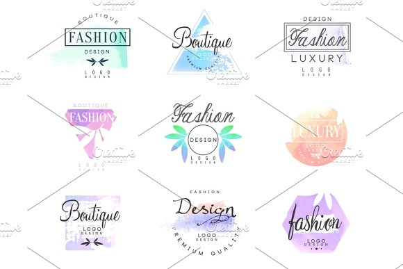 Fashion Luxury Boutique Set For Logo Design Colorful Vector Illustrations