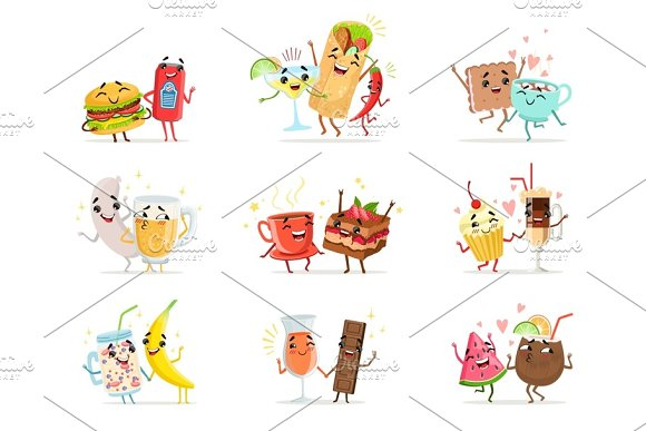 Cute Funny Food Characters Having Fun Vector Illustrations