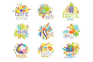 Exotic, tropical summer vacation set of logo graphic templates