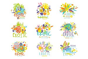 Exotic, summer travel set of logo graphic templates