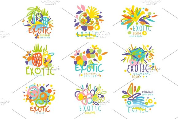 Exotic Summer Travel Set Of Logo Graphic Templates