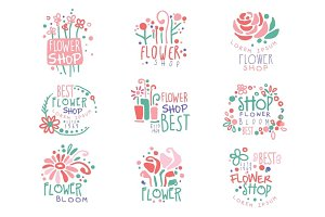 Flower shop set of logo templates colorful hand drawn vector Illustrations