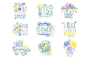 Best flower shop set of logo templates hand drawn vector Illustrations