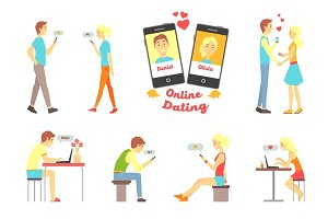 Online dating app, people finding love using dating websites and app on smartphones and computers set of vector Illustrations