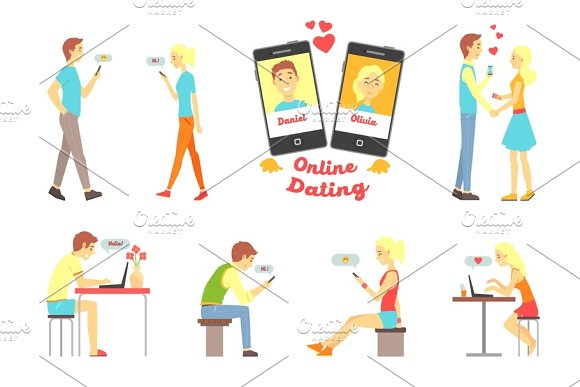 Online Dating App People Finding Love Using Dating Websites And App On Smartphones And Computers Set Of Vector Illustrations