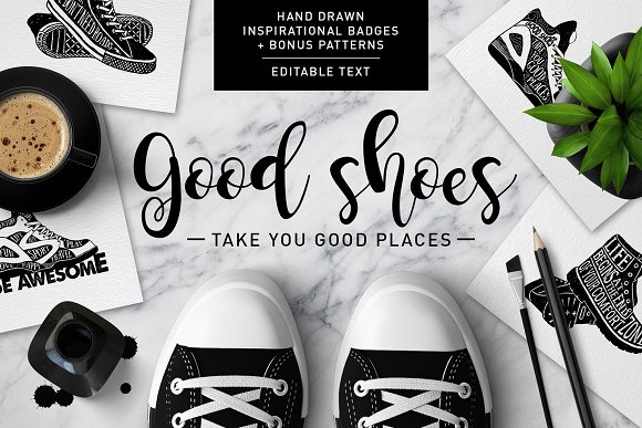 Good Shoes. 8 Inspirational Badges in Logo Templates