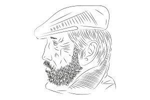 man with a beard in profile