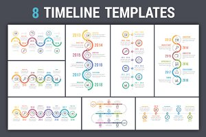 Timeline Infographics - 8 Templates