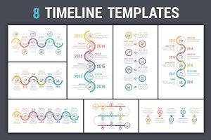 Timeline Infographics - 8 Templates